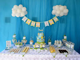 decoration baby shower boy air balloon themed blue sky baby shower dessert table with