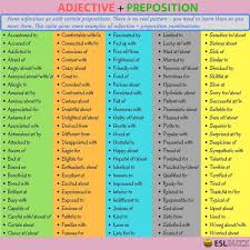 Common Adjective And Preposition Collocations In English English
