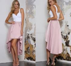 light pink high low prom dresses sweetheart satin two piece white