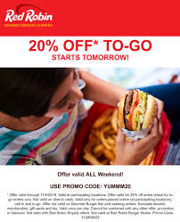Red Robin Coupons - 20% Off To-go At Red Robin Restaurants ... Celebrate Sandwich Month With A 5 Crispy Chicken Meal 20 Off Robin Hood Beard Company Coupons Promo Discount Red Robin Anchorage Hours Fiber One Sale Coupon Code 2019 Zr1 Corvette For 10 Off 50 Egift Online Only 40 Slickdealsnet National Cheeseburger Day Get Free Burgers And Deals Sept 18 Sample Programs Fdango Rewards Come Browse The Best Gulf Shores Vacation Deals Harris Pizza Hut Coupon Brand Discount Mytaxi Promo Code Happy Birthday Free Treats On Your Special