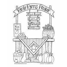 Family Farms Produce Coloring Page Farmers Market Stall Filled With An Autumn Harvest To Color