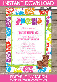 Luau Party Invitations Template
