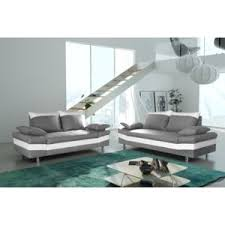 canapé simili cuir gris modern sofa canapé bacau 3 2 gris clair simili cuir blanc achat