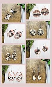 100 Finnish Birch Plywood Wooden Dangle Earrings Are Laser Cut Out Of Finest Finnish Birch