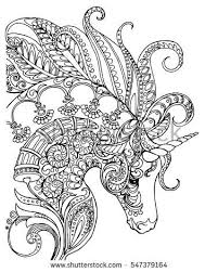 Elegant Zentangle Patterned Unicorn Doodle Page For Adult Colouring Book Vector Design