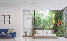 fototapete modernes weißes schlafzimmer und wohnzimmer mit naturansicht