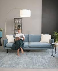 samt sofa moby 3 sitzer in türkis mit metall füßen
