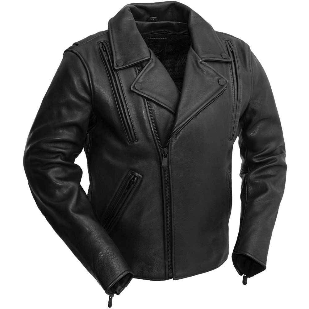 First Mfg Night Rider - Men's Leather Motorcycle Jacket Black