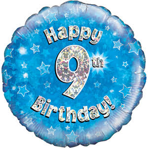 Oaktree Happy 9th Birthday Blue Foil Balloon - 18""