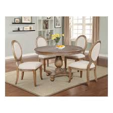 5pc Olivia Round Dining Set Distressed Gray Wash