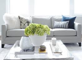 Gray LInen Sofa With Glass Top Coffee Table View Full Size