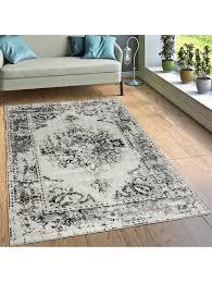 paco home designer teppich kurzflor wohnzimmer vintage look modern in grau creme klingel