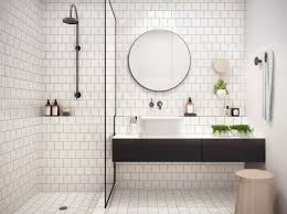 white bathroom ideas with white subway tile bathroom and floating