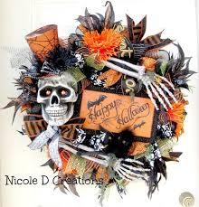 Grandin Road Halloween Wreath by Halloween Wreath Skull And Bones Wreath Deco Mesh Wreath Front