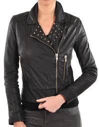 ladies moto inspired lambskin fashion motorcycle jacket with studs