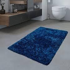 tt home badezimmer teppich hochflor badematte modern kuschelig weich uni blau größe 40x55 cm