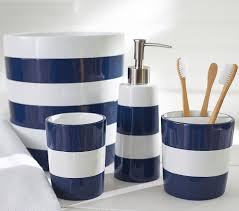 Royal Blue And Silver Bathroom Decor by Navy Stripe Bath Accessories Pottery Barn Kids