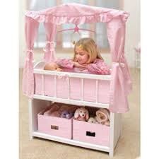 Doll Crib Set with Canopy Baby Doll Furniture