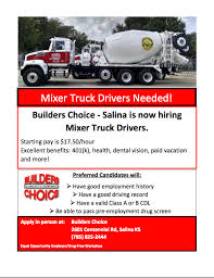 Mixer Truck Drivers Needed! - The Salina Post Class 1 Highway Drivers Need In Surrey Bc Xtl Transport Inc Whats Causing Truck Driver Shortages Gtg Technology Group 9 Stretches For Bet Theyd Work Other Drivers On Owner Wants Dea To Pay Up After Botched Sting Houston Chronicle Doft Uber Trucking Apps How Write A Perfect Resume With Examples A Work For Warriors Need The Growing Industry Opportunities Chrisleetv Commercial Truckdrivers Are In Short Supply But Milwaukee Is Retention Archives Workhound 5 Skills That Will Make You An Outstanding Pneumatics Facilitates Of Aventics Sverige