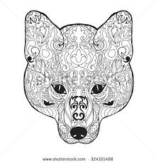 Adult Antistress Coloring Page Black White Hand Drawn Doodle Animal Ethnic