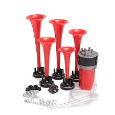 100 Truck Air Horn Kit 5pcs 178DB 12V Compressor Red Trumpets Dukes Car
