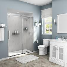 100 Marble Walls American Standard Passage 32 In X 60 In X 72 In 4Piece GlueUp Alcove Shower Wall In Platinum