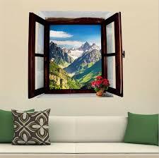 3D Wall Painting 3d View Window Landscape Snowy Mountains Home Decor Pvc