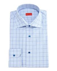 isaia gingham box check dress shirt in blue for men lyst