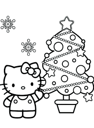 Free Christmas Kitten Coloring Pages Hello Kitty Page Printable Print