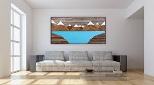 Custom Made Glacier Mountain Landscape Wood Wall Art Reclaimed Rustic