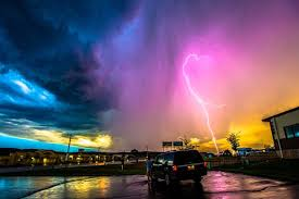 Incredible Vibrant Pink Lightning Bolt Strikes Earth Image Media Drum World