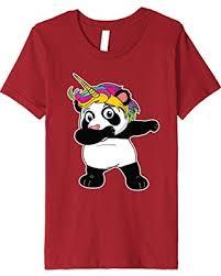 Kids Unipanda TShirt Dabbing Unicorn Panda With Rainbow Hair 8 Cranberry