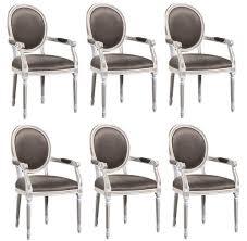 casa padrino luxus barock esszimmer set weiß gold grau 59 x 43 5 x h 98 cm 6 esszimmerstühle mit armlehnen esszimmermöbel