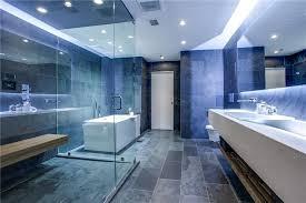 modern master bathroom with slate tile floors drop in sink in