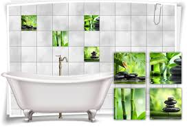 fliesen aufkleber spa wellness steine bambus wasser grün schwarz bad wc deko