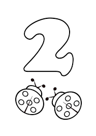 Kids Learn Number 2 With Two Ladybugs Coloring Page Bulk Color
