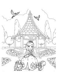 Princess Sofia And Friends At Garden In The First Coloring Page