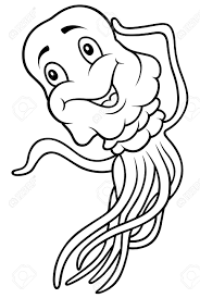 Jellyfish Black and White Cartoon Illustration Stock Vector