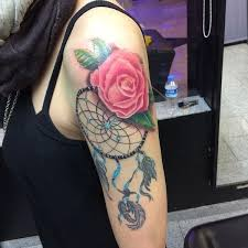 Cool Dreamcatcher With Hyper Realistic Rose Half Sleeve Tattoo