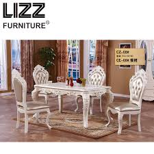 Marble Dining Table Room Furniture Set Royal Antique Style Muebels Square Chesterfield
