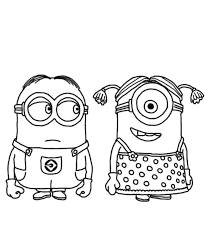 Download And Print Minion Couple Despicable Me Coloring Pages