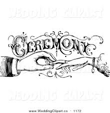 Vintage Black And White Wedding Vector Marriage Clipart of a