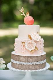 Peaches And Cream Burlap Fall Wedding Cake