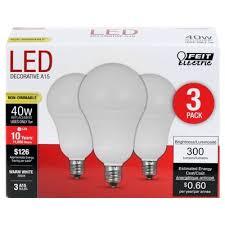 feit a15 40 watt led light bulb candelabra base 3 pack soft
