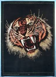 Black Light Velvet Like Psychedelic Pop Art Poster Bengal Tiger 1960 1970s
