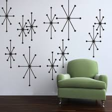 Amazon MairGwall Vinyl Atomic Starbursts Wall Decal Mid Century Modern Sticker Retro Graphic Home Art Decor Black Kitchen