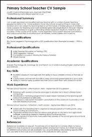 Primary School Teacher CV Sample