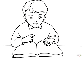 School Boy Reading A Book Coloring Page For
