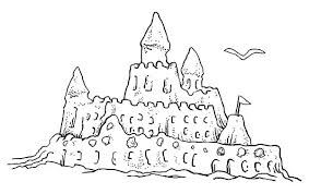 Free Printable Sandcastle Coloring Pages Beach Sand Castle And Packed Together With Drawn Shell 8