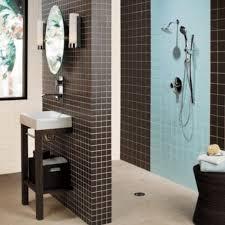 blue shower tile design for small bathroom home interiors
